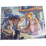 "Oil Paint By Number Cat & Teddy Bear..1956 Signed..18"" X 24"""