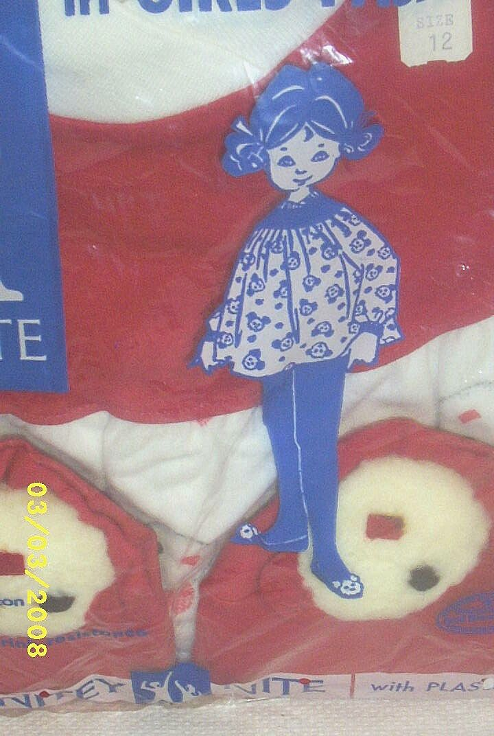 SOLD....Vintage...NITEY NITE Pajamas..Girls..Smock Top &  One-Piece Tights With BEAR Slipper..Cotton Flannel..Sizes 10 & 12 Available..