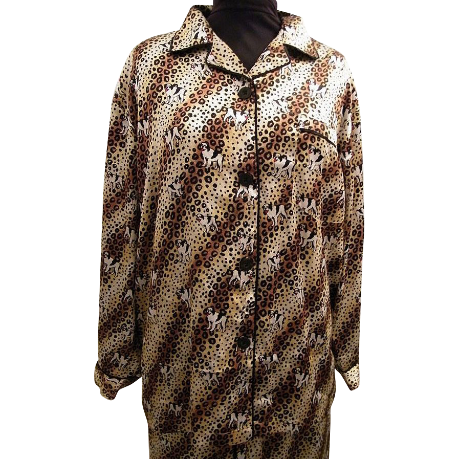 Pajama Shirt / Top...St Bernard Dog On Leopard Ground..Satin..By Big Dog..Medium..1980's..Hong Kong..