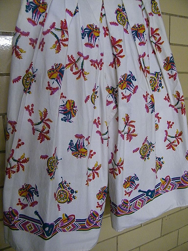 Vintage MEXICAN Cotton Tablecloth Print PALAZZO Pants..Spitalnick & Co.