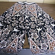 1960's RUTH CLARIDGE Jamaica..Palazzo Set..Brown / Black Geometric Floral Wood Block Hand Print..Cotton..Outstanding!