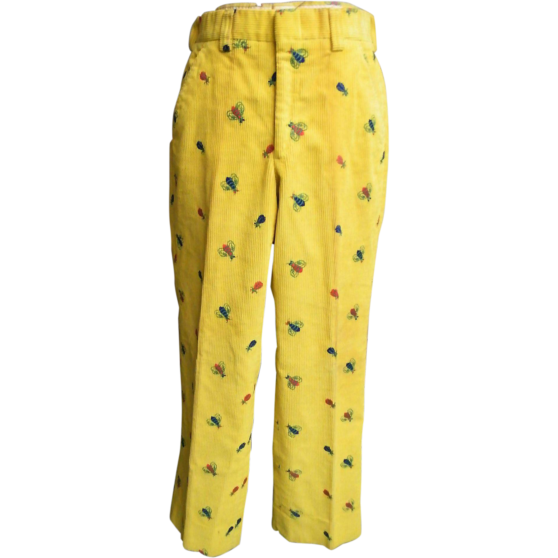 Men's Golf Slacks / Pants..Yellow Corduroy With Embroidery..1960's
