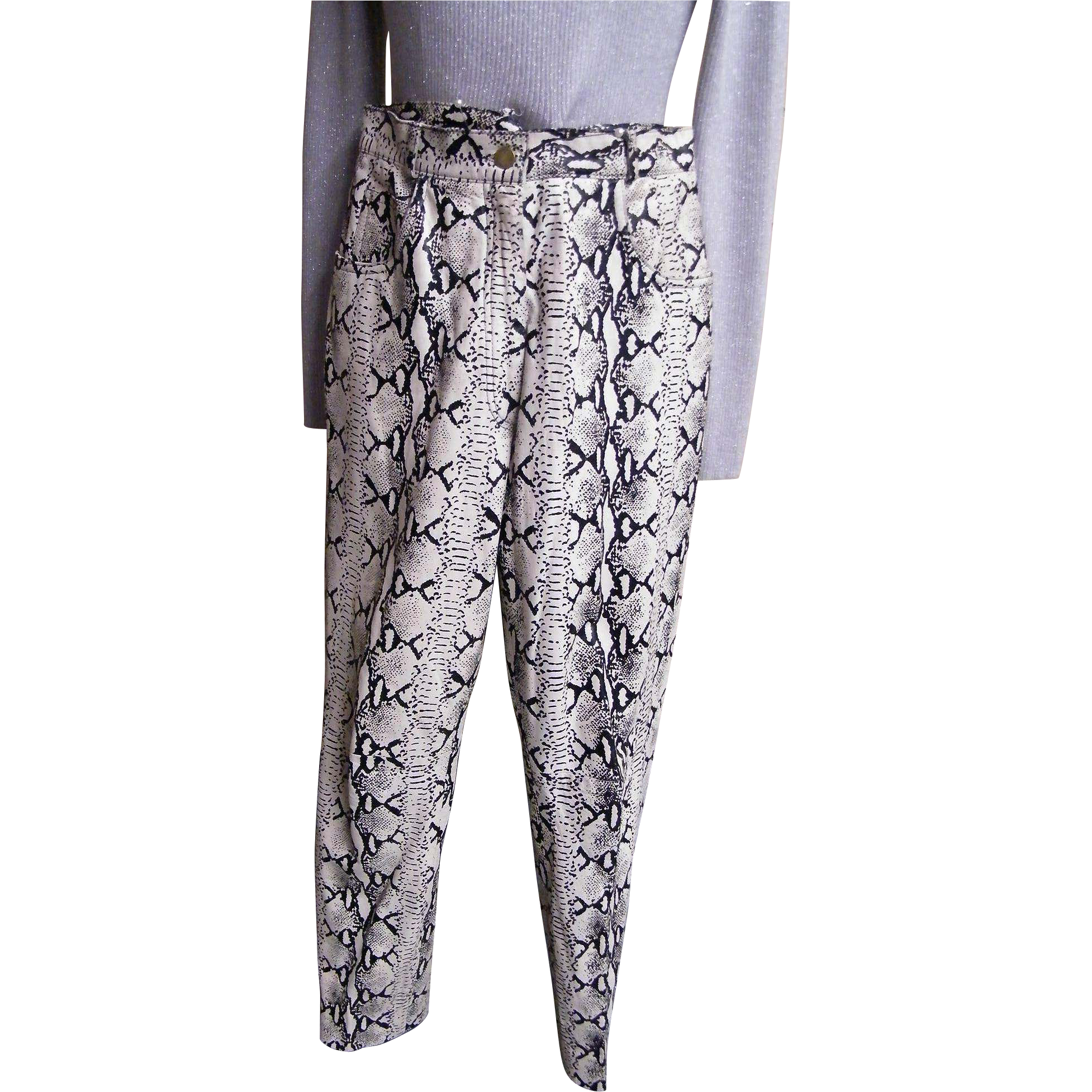Printed Reptile Leather Ladies  Pants In Black / Off White By Perry Ellis...Size 8..USA