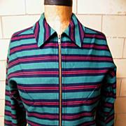 1960's MOD  Pants Suit..Bright Green / Navy Horizontal Stripe..Faille