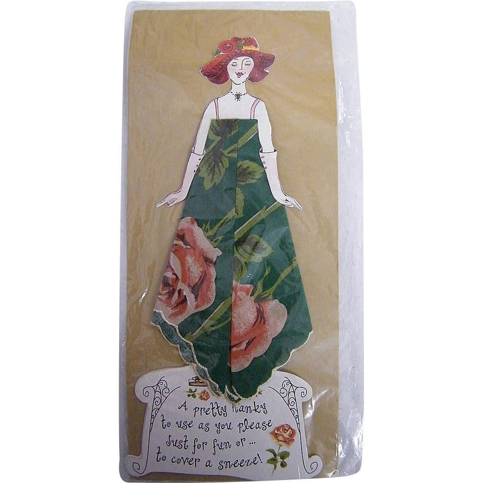 Vintage Paper Doll  Handkerchief..Hankie..Lady Greeting Card..Green Printed Hankie With Dusty Coral Rose..Red Hat..With Poem..NOS
