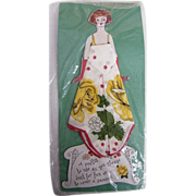 Vintage Paper Doll Handkerchief..Hankie..Greeting Card..White With Gold Roses..Poem..NOS