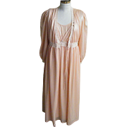 Vintage Peignoir Set Satin Stripe  Nylon Tricot Pastel Peach Size Medium Made in USA