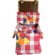 Wicker Picnic Basket Set..Red Checked Cotton Tablecloth..Runner..4 Napkins..All with Fruit Appliques..New Condition