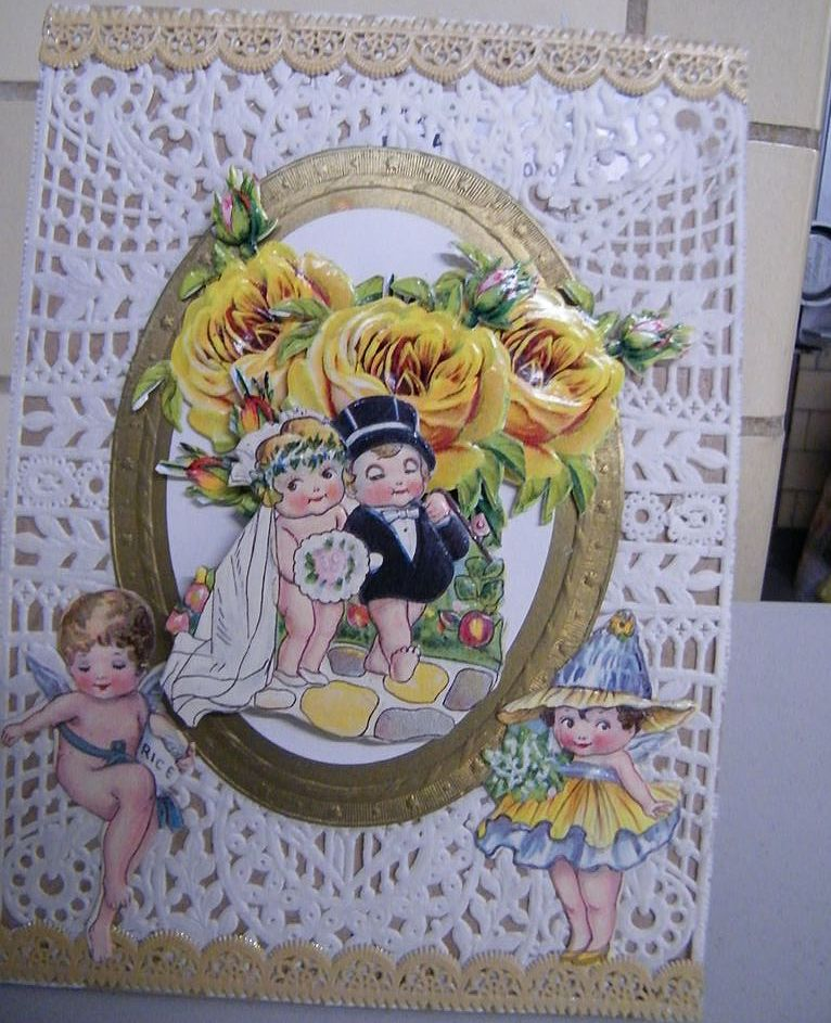 Picture Collage Of Bride & Groom..Vintage & Antique Paper..Yellow Roses & Doyle Background With Pixie & Cherub..NOS..