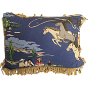 Western / Cowboy Print With Fringe Decorative Cotton Pillow