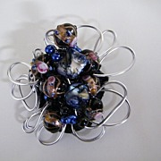 Artisan...Over-Sized Aluminum Crocheted  Wired Brooch / Pin With 7 Floral Wedding Cake Beads..Black / Violet With Pink Accents..ABSOLUTELY!!!