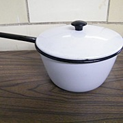 Vintage White Enameled Pots With Black Bands, 3 Ass't Sizes..2 Vollrath
