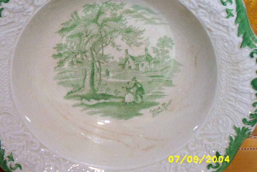 Antique..Ridgways England Serving Bowl Outside The School House Dickens Curiosity Shop...Green Transferware