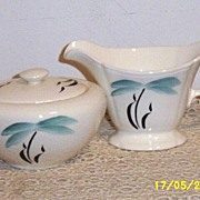 Earlton Hand Painted Palm Tree Design Sugar/Creamer Set