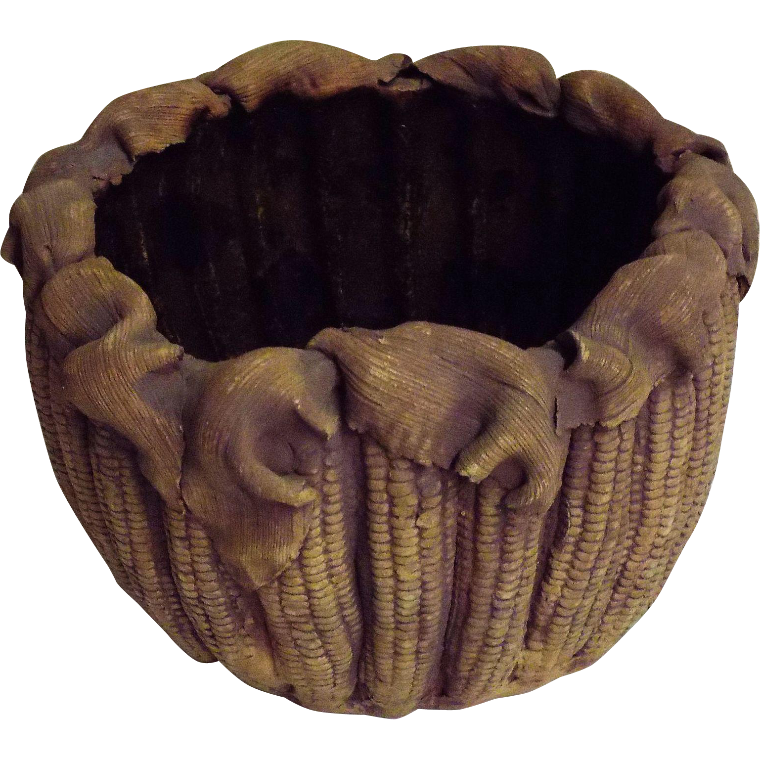 Corn In The Cobb Impression Clay Pottery Bowl By TERRAFIRMA NYC 1979