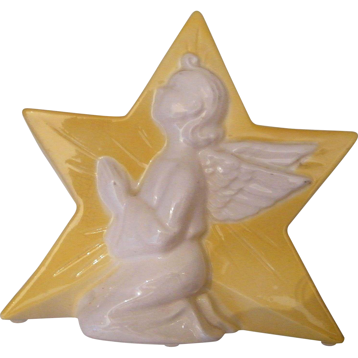 Yellow Ceramic Star With White Relief Praying Angel..Candle Holder / Planter / Vase..Spalding China Co...Excellent Condition..2 Available