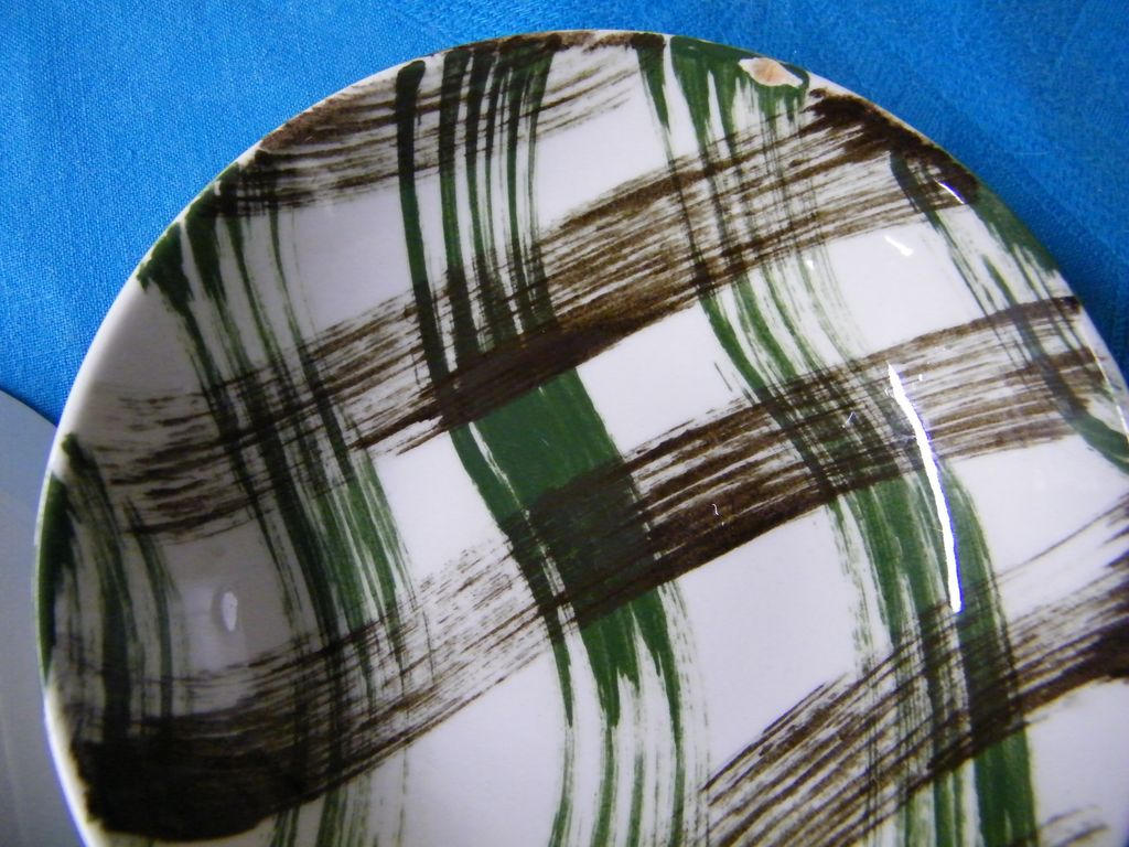 Vintage Lot Hand-Painted Green / Brown Plaid China By Stetson..Excellent Condition