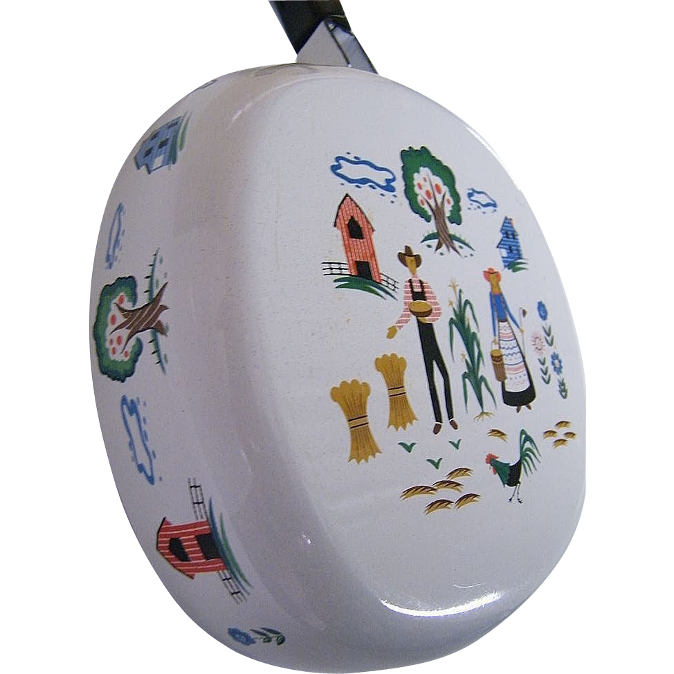 Farm Scene Enamel Covered Pot...The Farmer & Wife & Rooster...Mid-Century..Excellent Condition