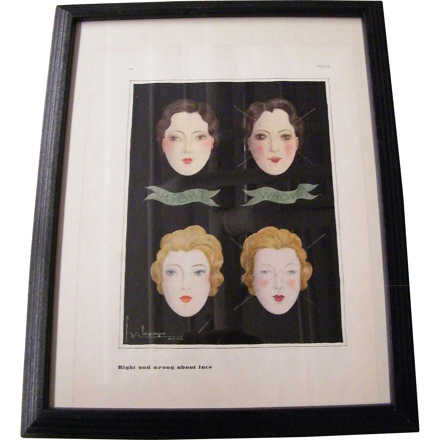 Vogue Magazine Print..Illustration...Signed Georges Lepape..1931..Make Up..Right & Wrong About Face