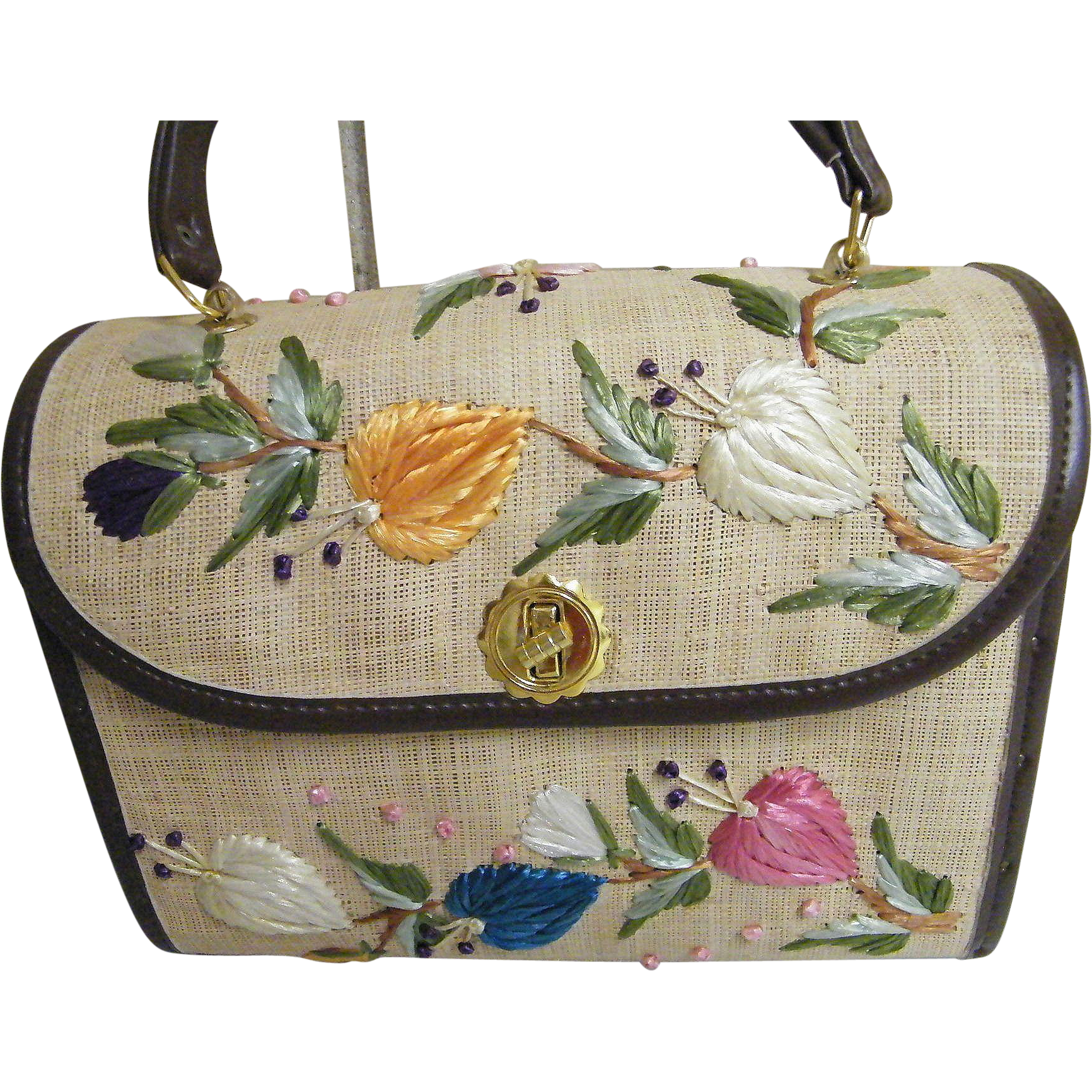 Colorful Embroidered Raffia Leaves On Box Straw Hand Bag / Purse With Wood Sides By Whidby, Inc. Adele, Georgia