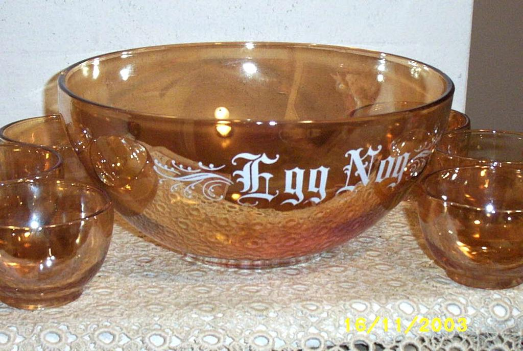 Vintage Copper Tint Egg Nog Set With Six Cups from ...
