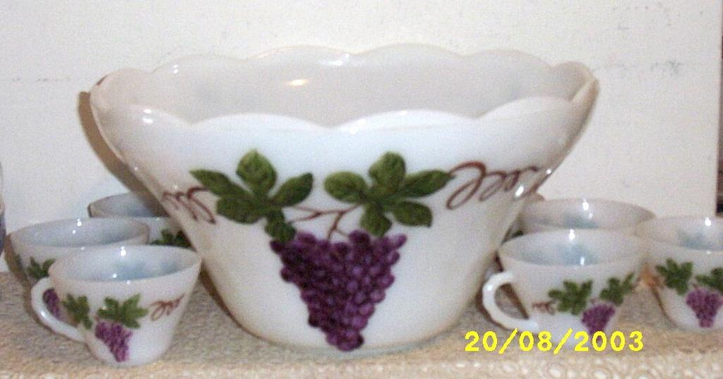 Large Hand Painted Grape Motif Milk Glass Punch Bowl And Cup Set