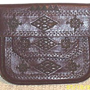 Vintage Arts & Crafts Tooled Leather Bag With Silk Embroidered Geometric Design...Silk Cord Shoulder Strap