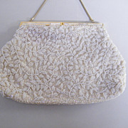 Evening Purse..Mr. John..Winding leaf Design..Pearls..MOP Frame..