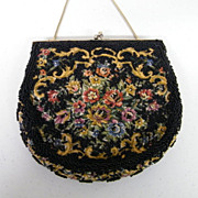 MAGID Petit Point Floral With Black Hand Beading..Evening Purse..Hong Kong..Excellent Condition!