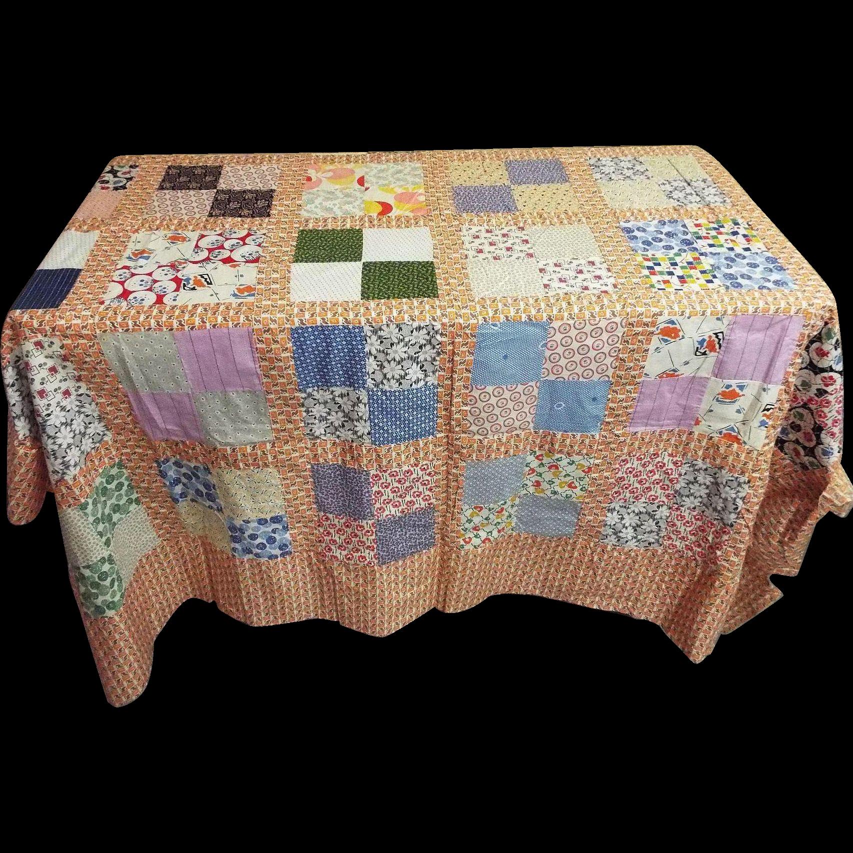 """Quilt Top Cotton Patchwork Squares..80"""" x 80""""...Interesting Prints"""