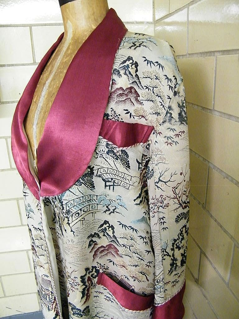 Vintage Silk Brocade Shawl Collar Robe..Best Quality..Japan