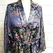 Chinese Brocade Rayon Satin Long Robe With Tie..Dark Navy Ground With Jewel Tone Colors. Excellent Condition!