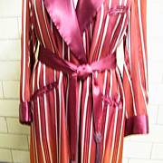 Men's Dressing Robe..Smoking Shall Collar Robe..Woven Silk Satin..Maroon..1930's / 40's..Large Stripes