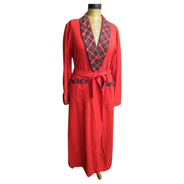 Pendleton Long Robe...Solid Red / Red Royal Stuart Plaid Trim..Shawl Collar & Cuffs