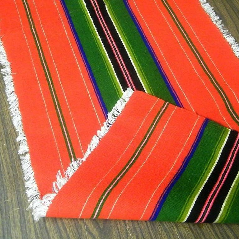 Mexican Serape Rug Runner..Wool..Bright Colors..1965..Never Used