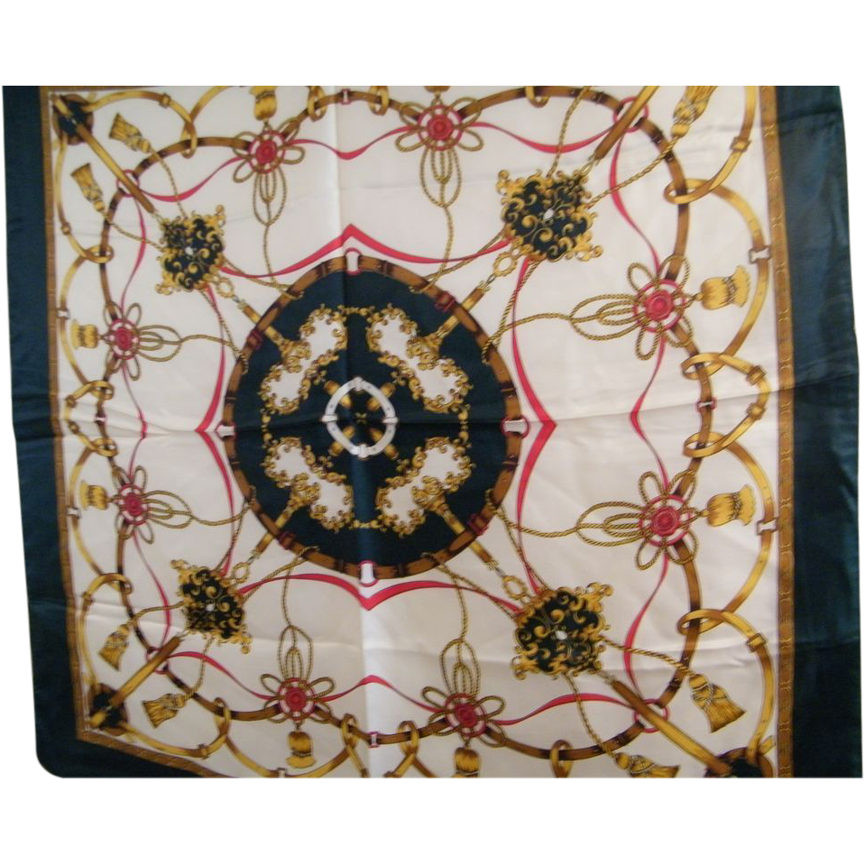 """Hermes Style Quality Scarf With Tassels & Belts..Polyester Twill..35"""" Square..NOS"""