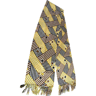 Bold Stars And Stripe Patchwork Print Mile Long Fringed Scarf Made of Ribbed tie silk Acetate From The Mary Ann Restivo Collection