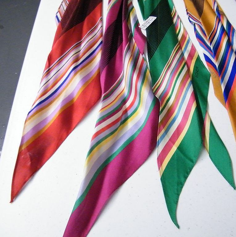 ECHO Scarf Collection Of Bright Stripes..Silk Satin.. Rectangular..