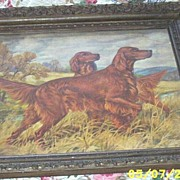 Vintage..Framed Irish Setter Print..Artist Signed