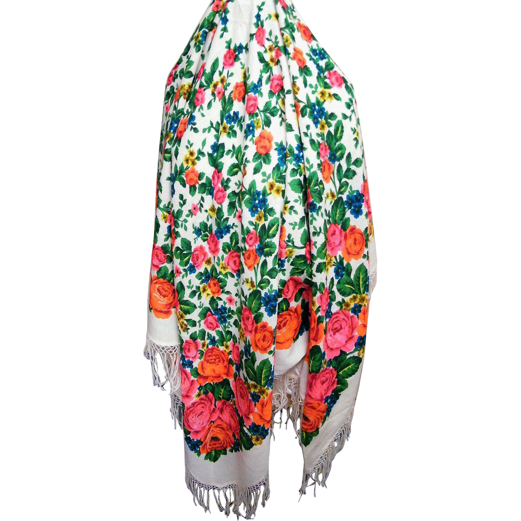 Gypsy Wool Challis Screen Printed Shawl With Coral, Orange, Turquoise Cabbage Flowers..1950's..Excellent Condition