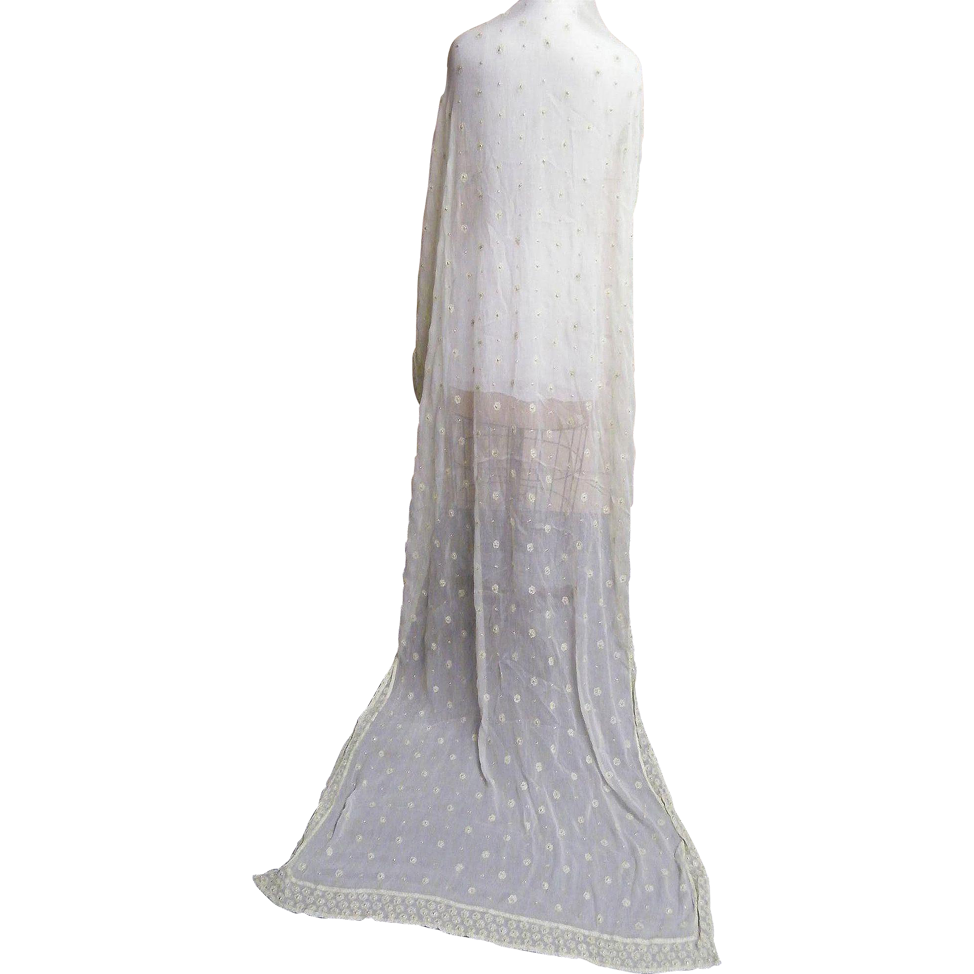 Indian Sari Dupatta Shawl..Palest Pea Green..Crinkle Silk Chiffon..Embroidery & Sequins