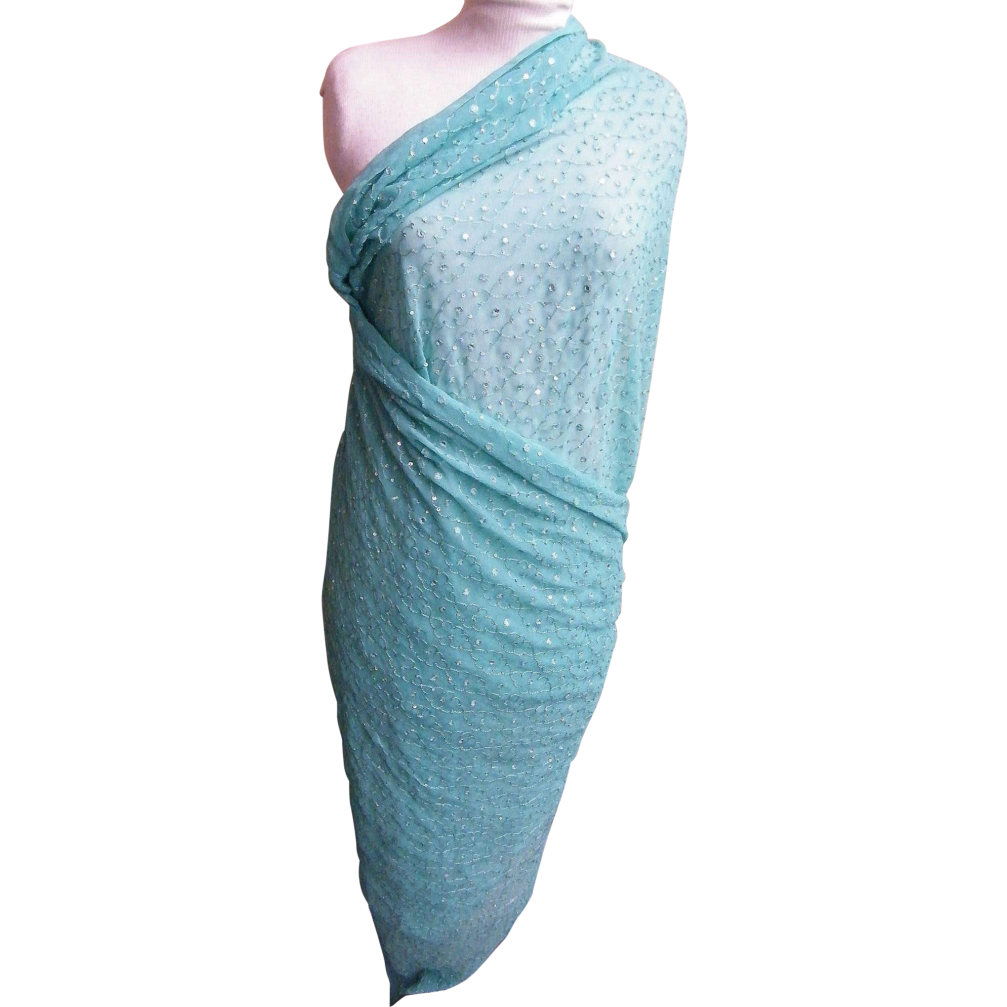 Indian Sari Dupatta Shawl..Light Aqua..Embroidered & Sequins..Crinkle Silk..Mary Ann Restivo