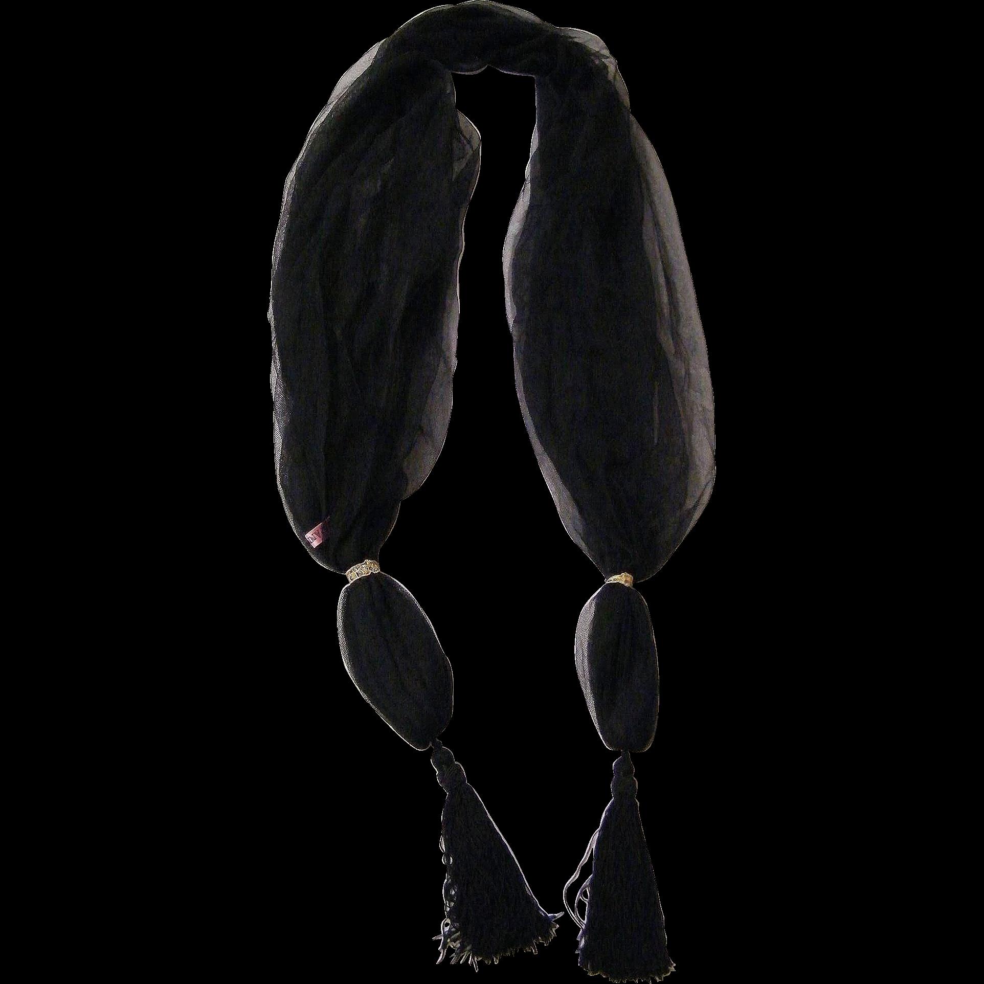 Scarf / Shawl..Black Fine Net With Tassel..Sample..Mary Ann Restivo