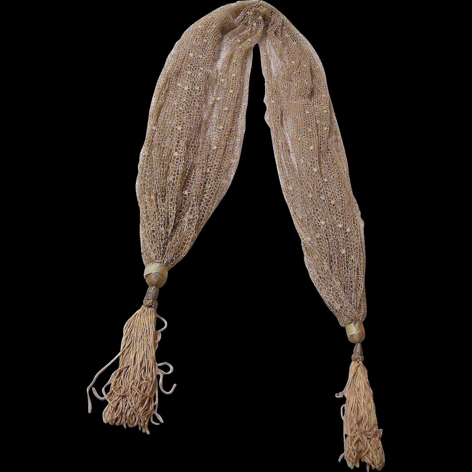 Shawl / Scarf..Gold Lurex Dotted Fish Net..Sample..Mary Ann Restivo