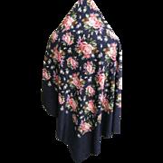 "Yves Saint Laurant..YSL..Silk Shawl..Dark Navy Ground..Muted Rose & Lavender Cabbage Flowers..52"" Square"