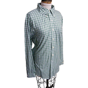 Green & White Check St Patrick's Day Shirt By Brooks Brothers..Supima Cotton..XL Regular Fit