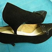 SAKS FIFTH AVENUE Label Black Suede Narrow Heels With Reptile Trim..7.5 AA