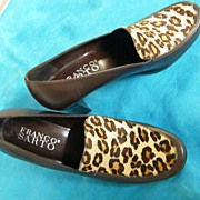 Vintage Leopard Print Pony Skin Stacked Heel Brown Leather Shoe By Franco Sarto..Size 6.5M..Made In Brazil..MINT