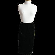 Antique Victorian Long Black Silk Velvet Straight Skirt..Large Size