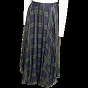Silk Circle Maxi Skirt..Black Watch Plaid Print..Lined..Ralph Lauren..Hong Kong..Size 12